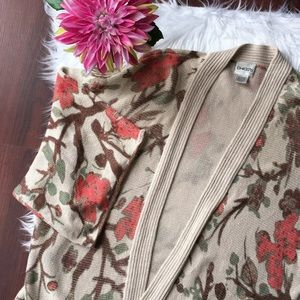 Chico's Sweaters - Chico's open front floral cardigan sweater size 2
